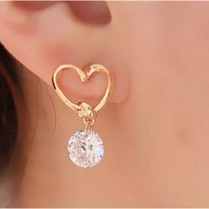 2 for $15 Gold Heart Small Dangle CZ Earrings 5🌟